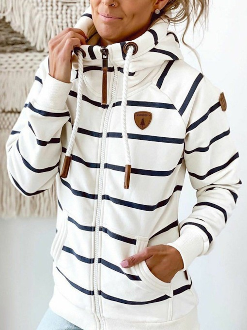 Zipper Stripe Patchwork Regular Standard Women's Hoodie