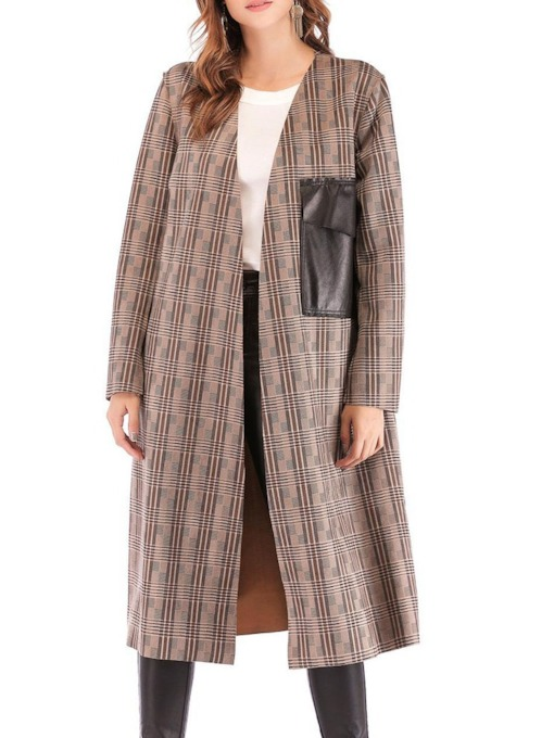 Patchwork Long Sleeve Women's Trench Coat with Pocket