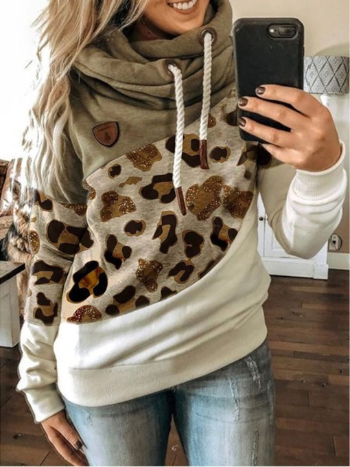 Patchwork Leopard Regular Long Sleeve Women's Hoodie