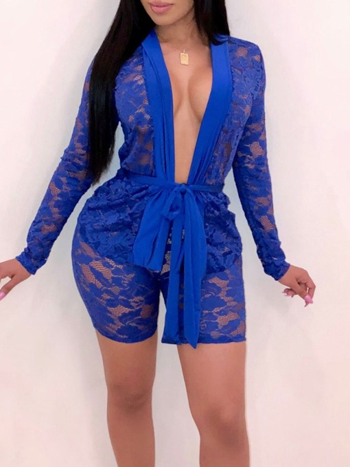 Office Lady See-Through Shirt Plain Straight Women's Two Piece Sets
