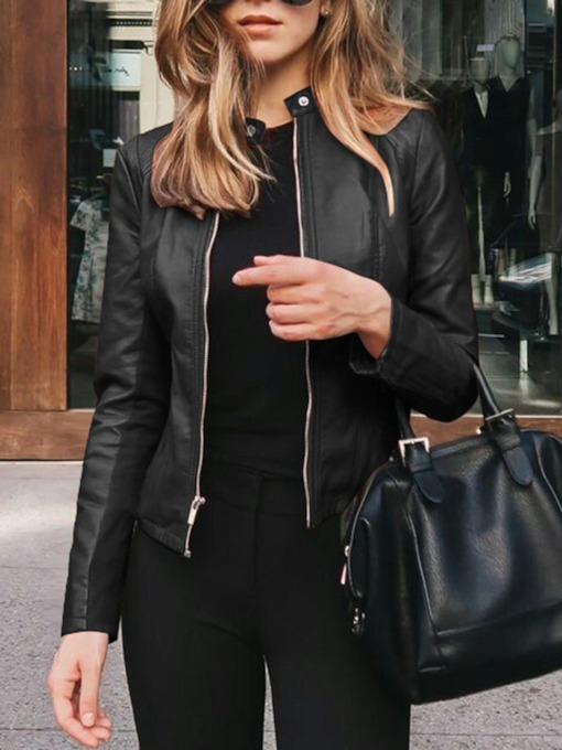 Plain Stand Collar Standard Long Sleeves Women's Leather Jacket