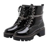 Plain Round Toe Lace-Up Front Short Floss Boots
