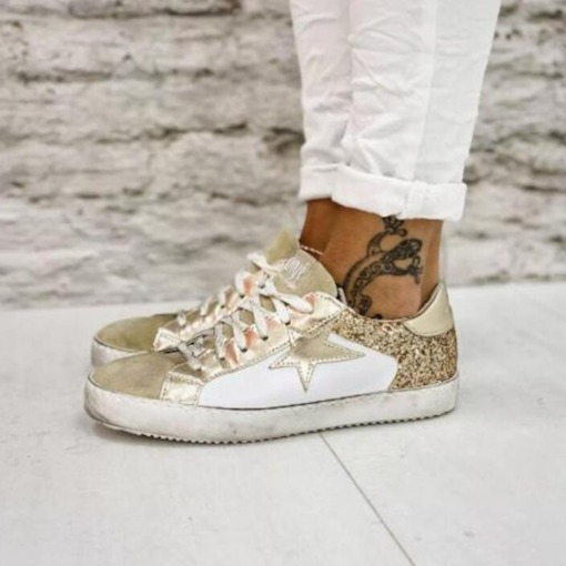 Low-Cut Upper Lace-Up Round Toe Sequin Casual Sneakers