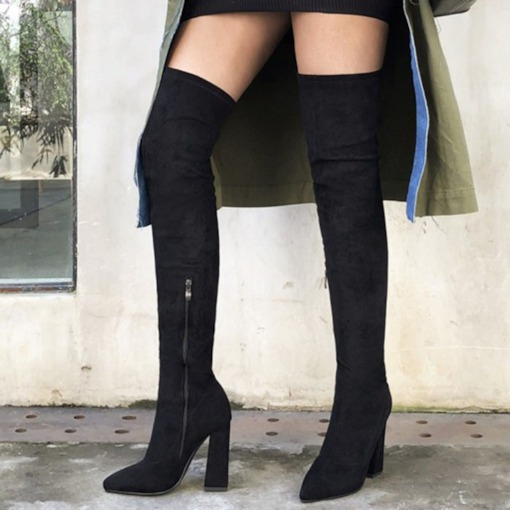Plain Pointed Toe Side Zipper England Boots