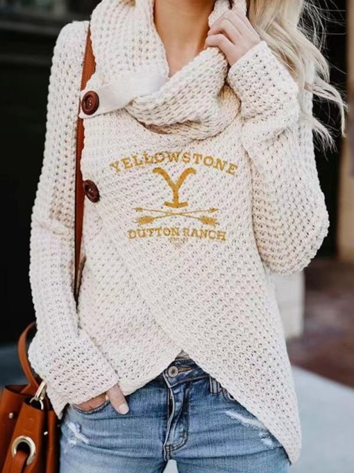 Regular Single-Breasted Patchwork Thick Slim Women's Sweater