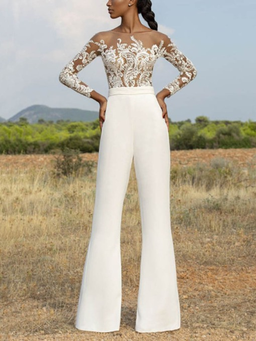 Party/Cocktail Floral See-Through Pants Bellbottoms Women's Two Piece Sets