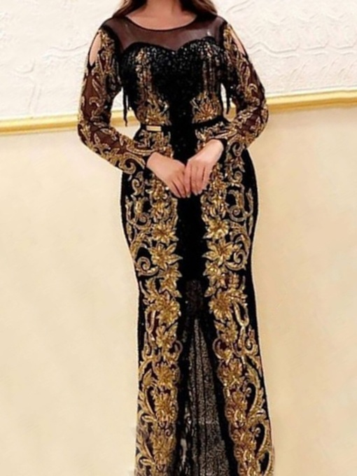 Embroidery Round Neck Long Sleeve Floor-Length Pullover Women's Dress