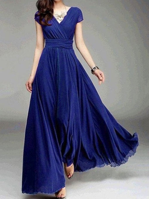 Short Sleeve V-Neck Floor-Length Plain Women's Dress