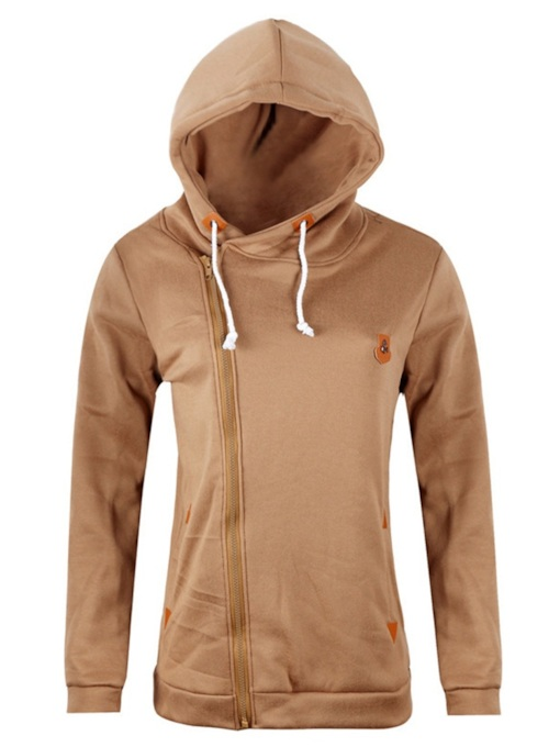 Regular Zipper Plain Pocket Long Sleeve Women's Hoodie