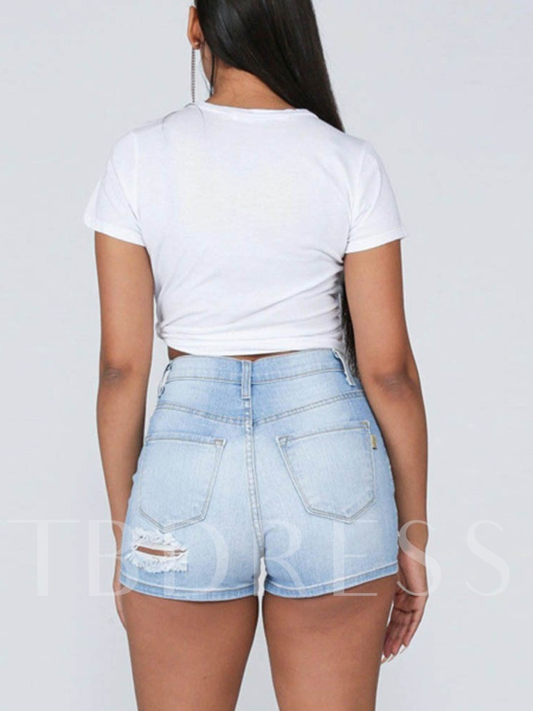 Plain Hole High Waist Women's Shorts