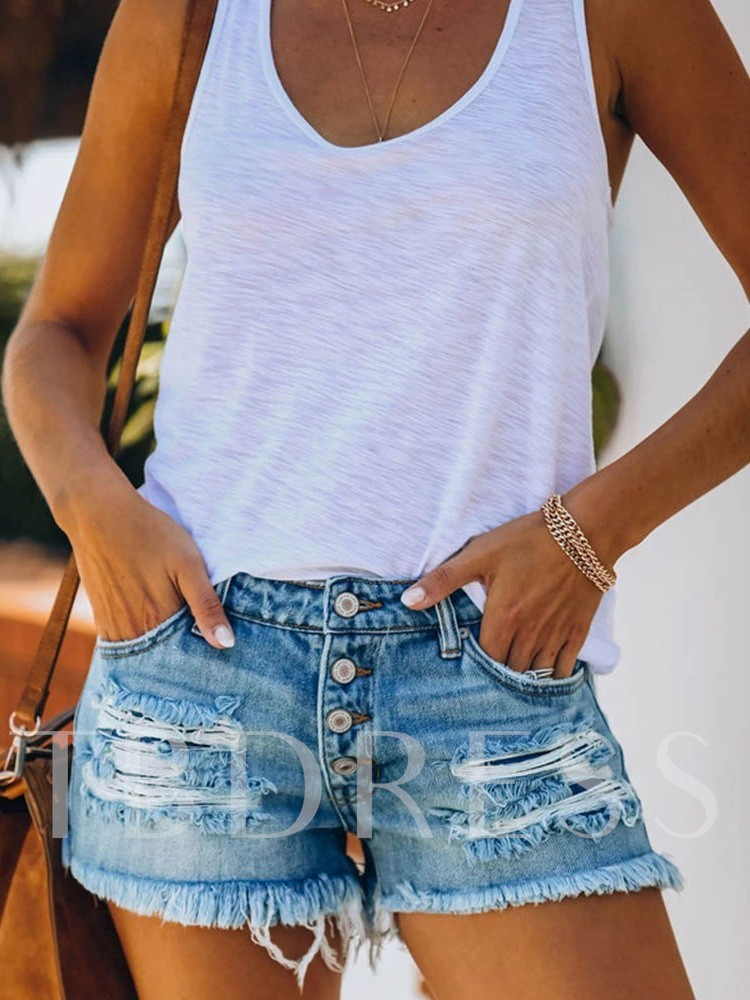 Plain Tassel Slim Low Waist Women's Shorts