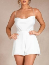 Plain Casual Strap Shorts Loose Women's Rompers