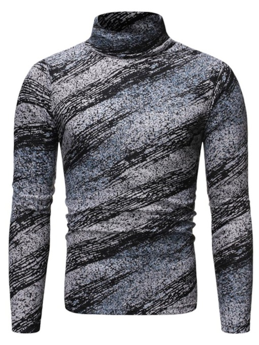 Casual Stand Collar Print Color Block Pullover Men's T-shirt