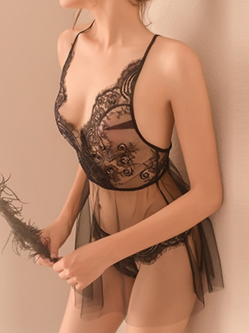 Backless See-Through Plain Lace Tight Wrap Sleeveless Sexy Sets