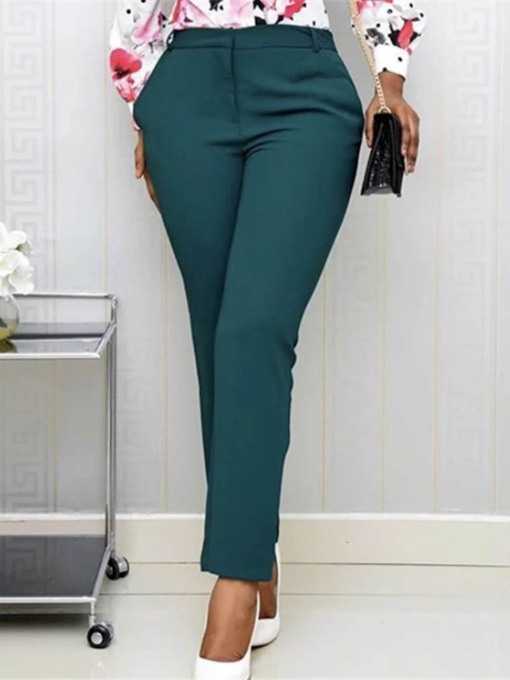 Zipper Slim Plain High Waist Women's Casual Pants