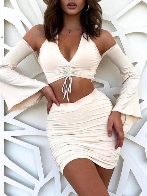 Lace-Up Plain Party/Cocktail Skirt Pullover Women's Two Piece Sets