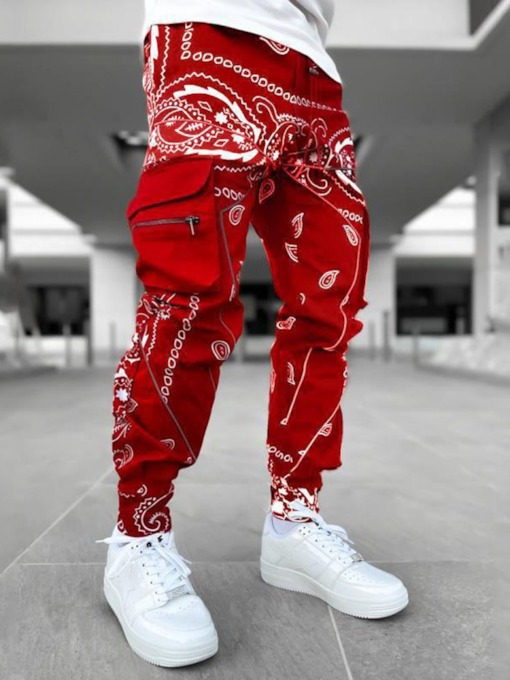 Print Thin Floral Lace-Up Men's Casual Pants