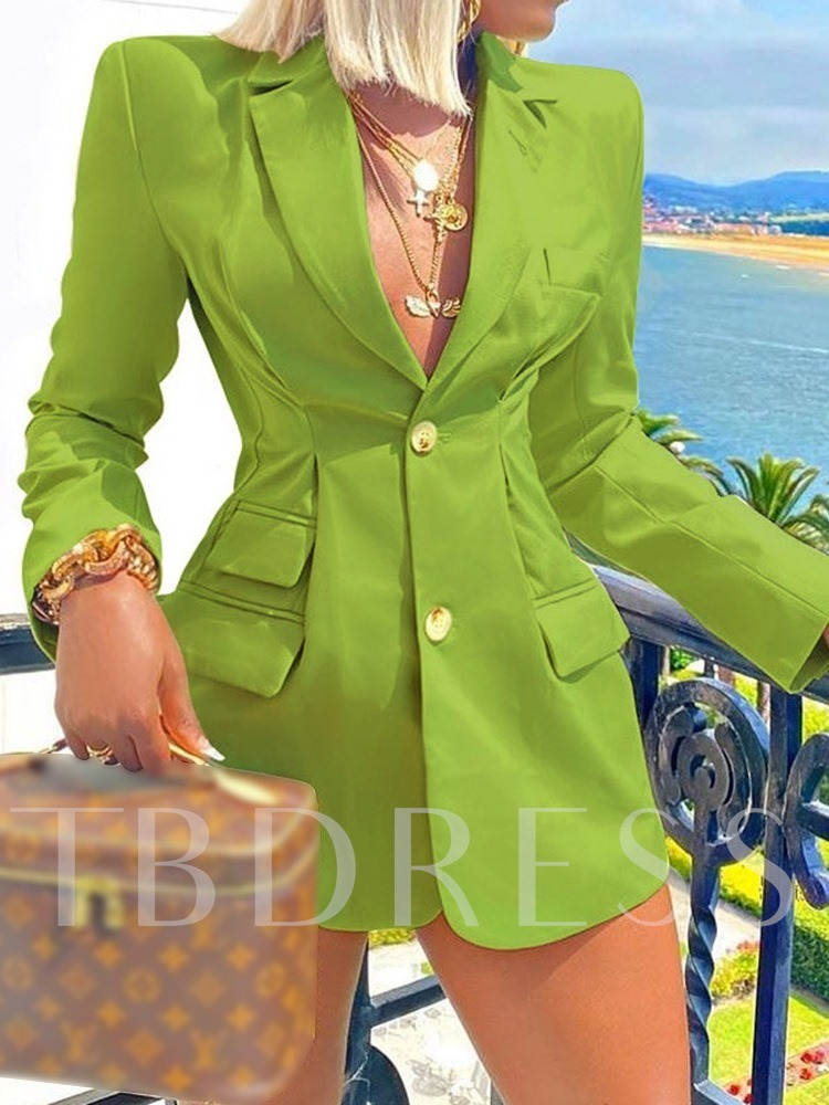Long Sleeve Plain Notched Lapel Single-Breasted Mid-Length Women's Casual Blazer