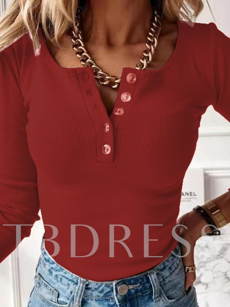 Thin Patchwork Regular Long Sleeve Women's Sweater with Buttons