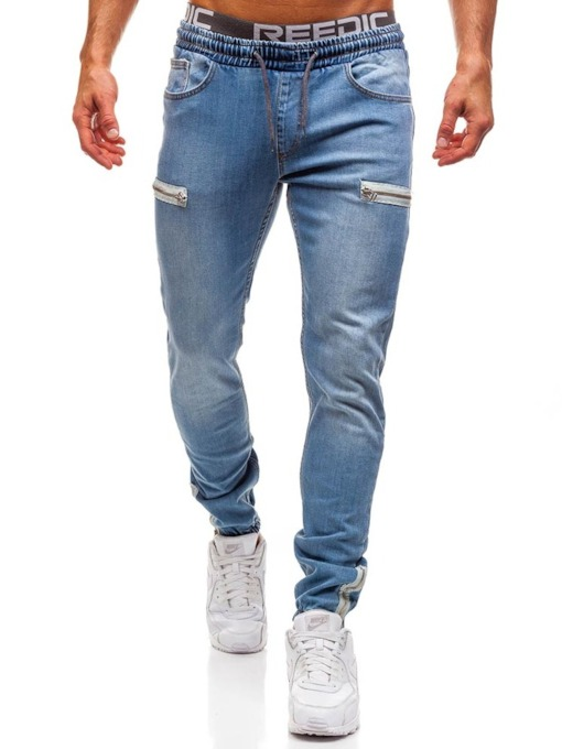 Plain Zipper Pencil Pants Casual Men's Jeans