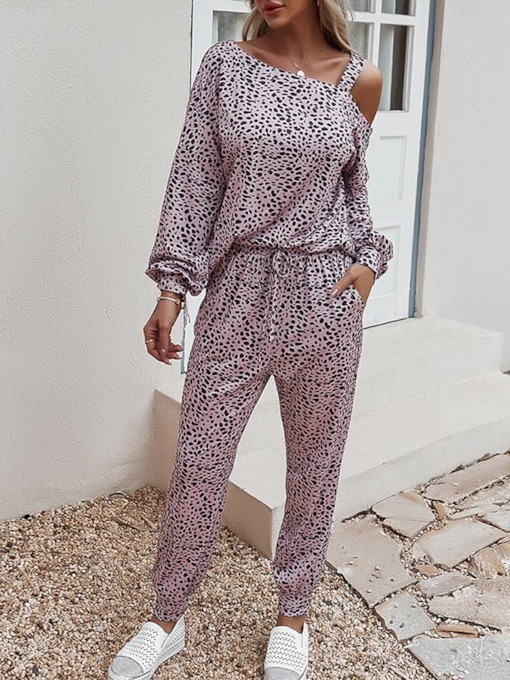 Pants Print Casual Leopard Pullover Women's Two Piece Sets