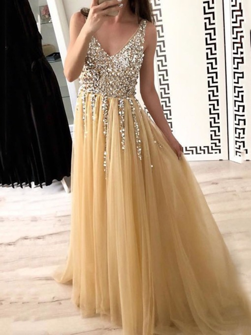 Sequins V-Neck Floor-Length Sleeveless Mid Waist Women's Dress