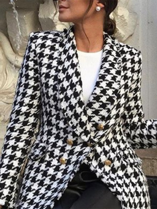 Double-Breasted Long Sleeve Houndstooth Notched Lapel Women's Casual Blazer