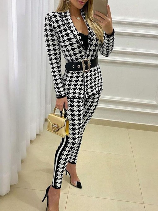 Coat Fashion Print Houndstooth Notched Lapel Women's Two Piece Sets