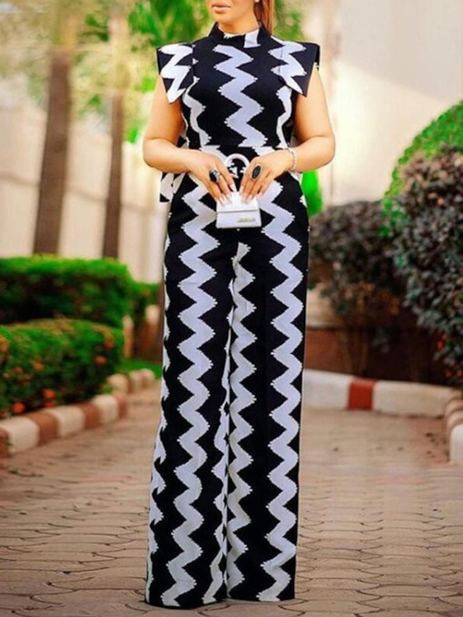 Fashion Full Length Color Block Print Slim Women's Jumpsuit
