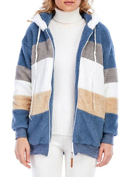 Zipper Stripe Zipper Regular Hooded Women's Hoodie