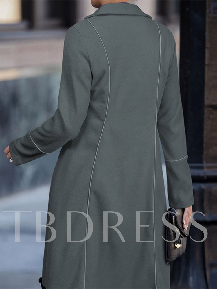 Regular Double-Breasted Patchwork Loose Fall Women's Overcoat