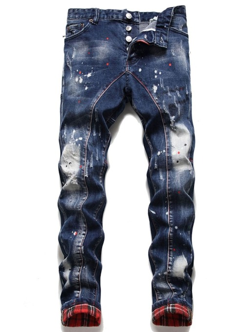 Patchwork Straight Casual Men's Jeans