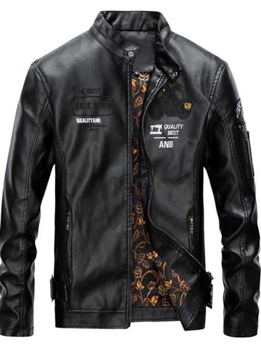 Letter Standard Stand Collar Casual Men's Leather Jacket