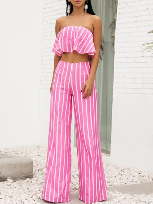 Pants Stripe Date Night Pullover Women's Two Piece Sets