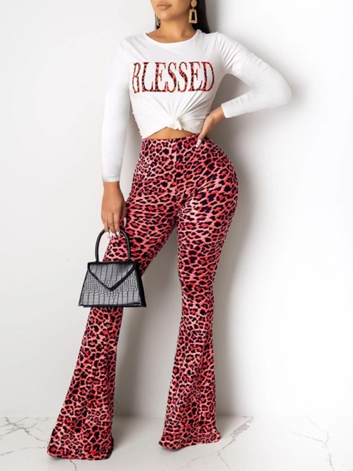 T-Shirt Leopard Casual Print Bellbottoms Women's Two Piece Sets