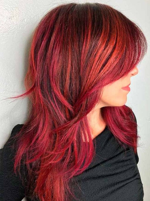 Women's Shag Haircut Red Long Side Bang Wavy Synthetic Hair Capless 120% 20 Inches Wigs