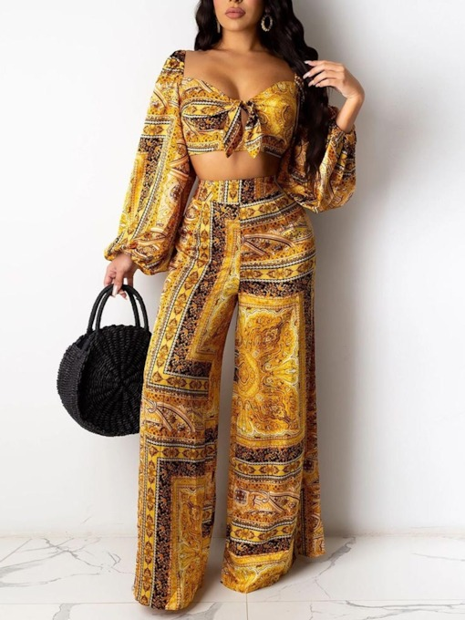 Sexy Floral Lace-Up Pants Wide Legs Women's Two Piece Sets