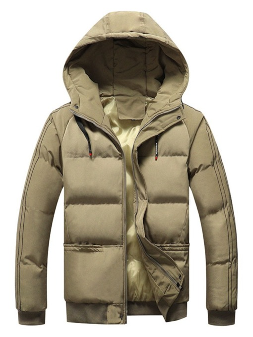 Color Block Standard Patchwork Hooded Casual Men's Down Jacket