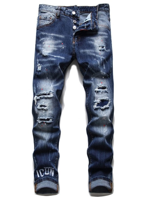 Pencil Pants Worn Letter Mid Waist Men's Jeans
