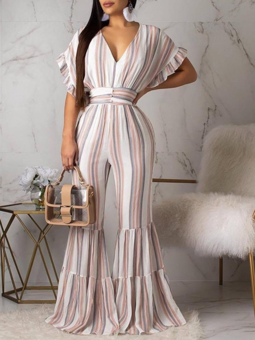 Full Length Print Sweet Stripe Slim Women's Jumpsuit