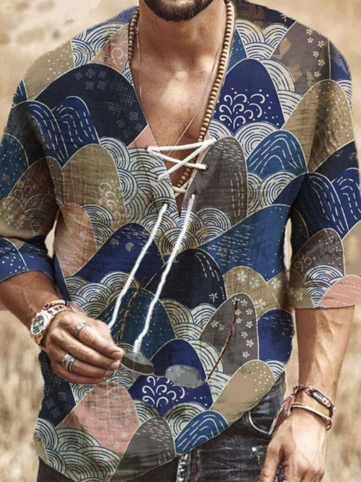 Floral V-Neck Ethnic Print Straight Men's Shirt