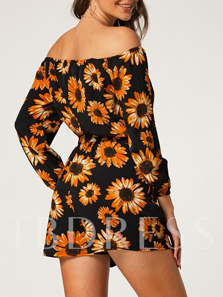 Print Sweet Floral Shorts Loose Women's Rompers
