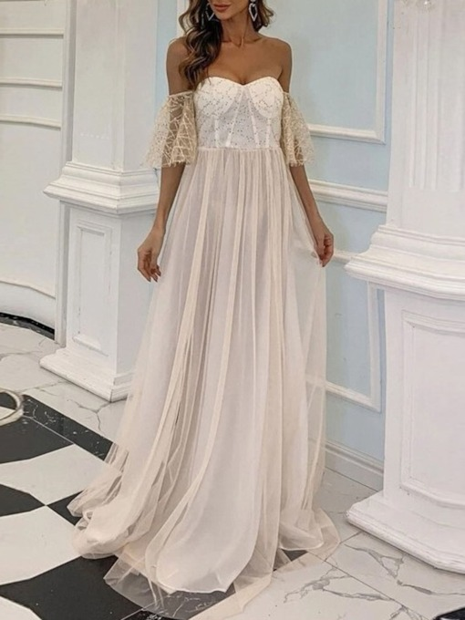 High Waist Mesh Floor-Length Three-Quarter Sleeve Women's Dress