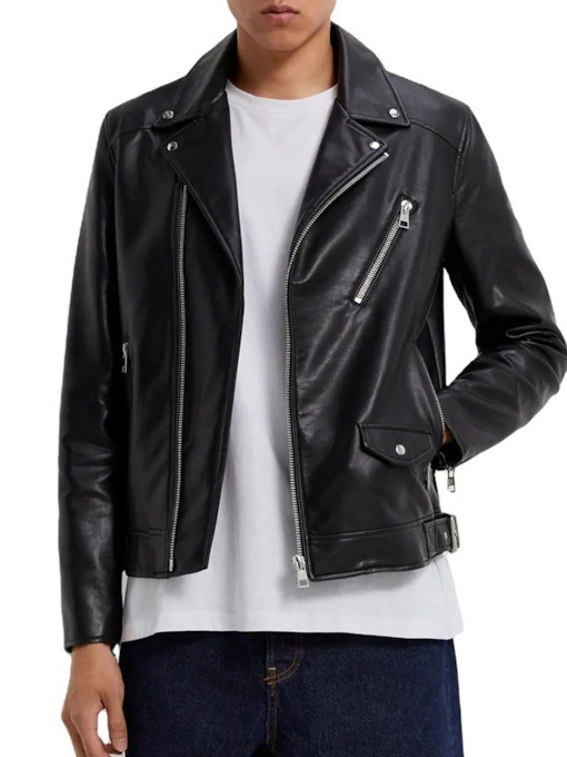 Lapel Plain Slim Standard Zipper Men's Leather Jacket