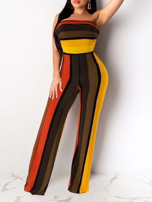 Color Block Fashion Print Full Length Slim Women's Jumpsuit