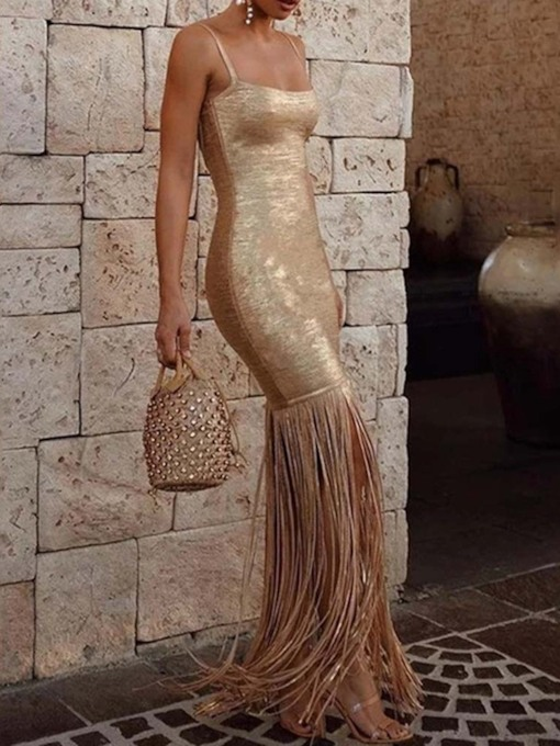 Tassel Floor-Length Sleeveless Mermaid Women's Dress