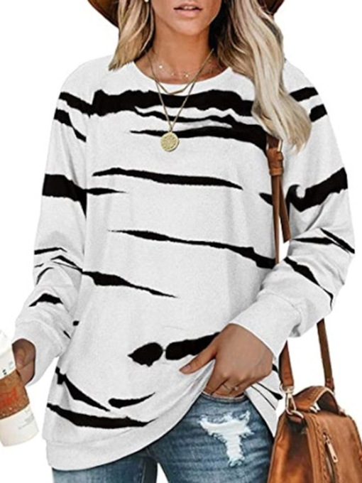Print Stripe Regular Fall Women's Hoodie