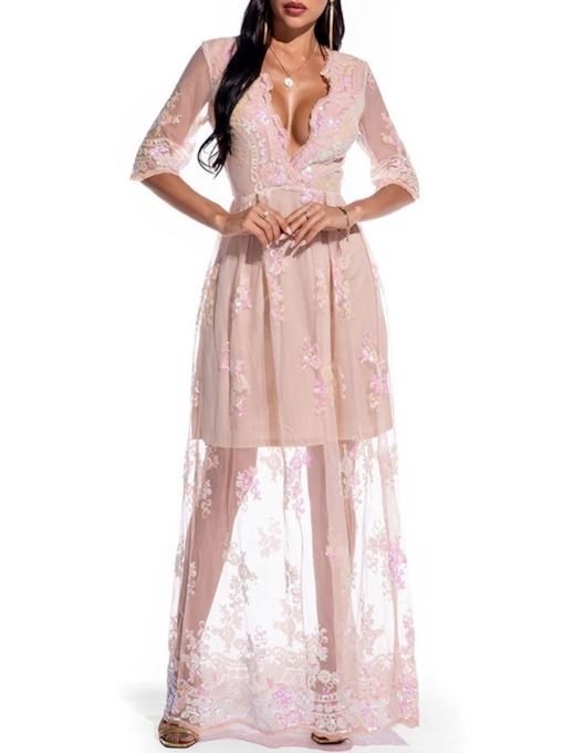V-Neck See-Through Three-Quarter Sleeve Floor-Length A-Line Women's Dress