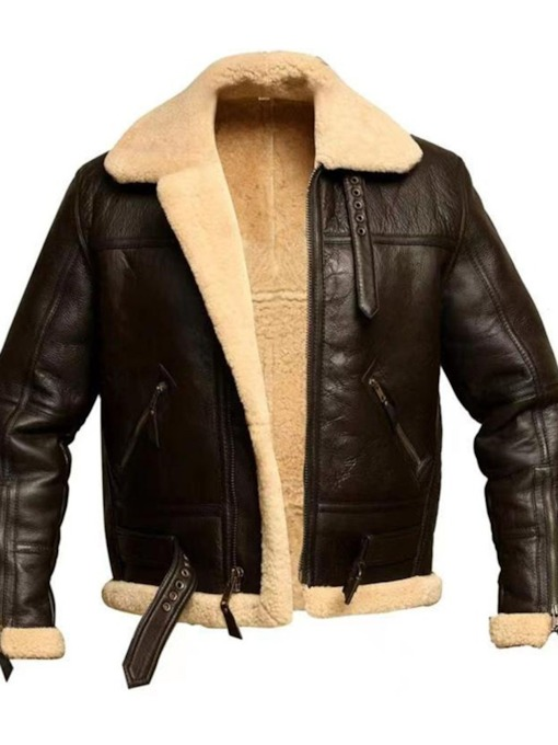 Lapel Plain Standard England Men's Leather Jacket