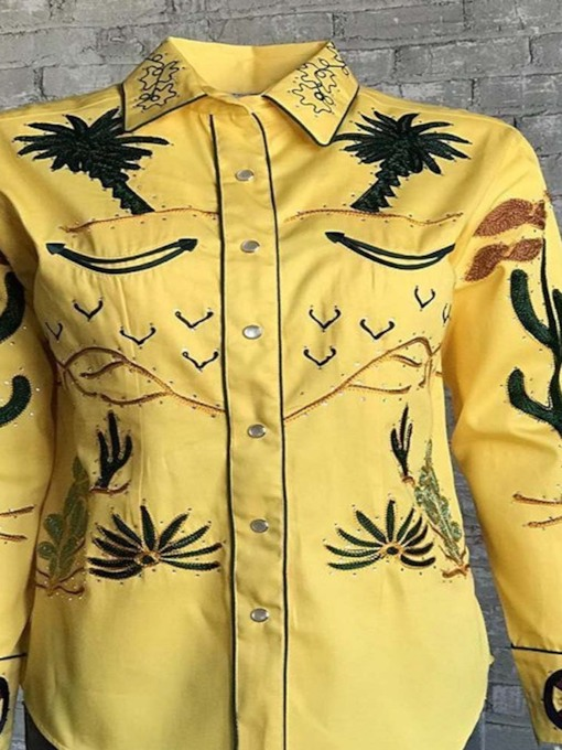 Plant Embroidery Lapel Vintage Loose Men's Shirt